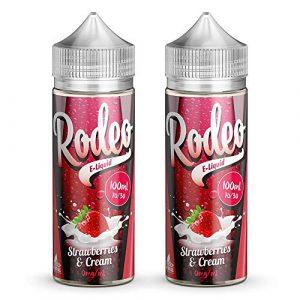Double Pack – 100ml Fraise & Crème E-liquide, 70/30, Vape Juice Liquid eJuice E Cigarette Liquid, Sans Nicotine, 120ml Bouteille (Rodeo E-Liquid)