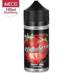 Vape Liquid, Jus liquide IMECIG Strawberry Vape, 100 ml, Grande Capacité, E Liquide Convient à Tous Les Kits de Démarrage de Cigarettes Electroniques, 70VG / 30PG, sans Nicotine ni Tabac