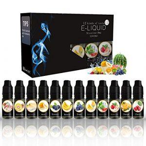 VOVCIG E Liquid 12 paquets (12 x 10 ml) E-liquide pour e-cigarette Cigarette électrique (Sans nicotine)
