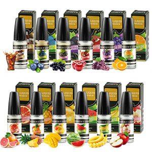 WOSTOO E-Liquide, 12 X 10 ML E Liquide Mélange de Fruits, 50VG/50PG Vape E Liquide pour pour Cigarette Électronique, E-Cigarette Liquide sans Nicotine Ni Tabac