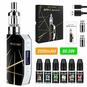 Cigarette Electronique Kit Complet Electronique Sans Nicotine E Cigarettes électroniques 80W/2200mAh avec 6x10ml E-liquide, Réservoir d'évaporateur de 3 ml, Régulation de débit, 0.5Ohm d'Atomiseurs