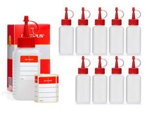 10 x 100 ml Octopus flacons en plastique, flacons faits de plastique en PEHD avec des bouchons pissette ou compte-gouttes rouges, utilisables par exemple pour les e-liquides / e-cigarettes, résistants aux produits chimiques, y compris 10 étiquettes
