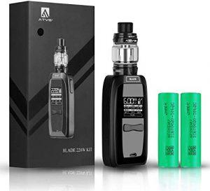 Cigarette électronique Kit Complet,ATVS TC BLADE 228W Mod Box Kit Rechargeable 4000mAh avec Atomiseur Initial 5ml et la résistance 0.15ohm(L-R3),équipée de double batteries amovibles,sans nicotine.