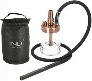 INVI® Nano Reise Shisha Nano Black Edition | avec Tuyau et Sac de Transport Rose Gold