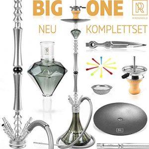 M. ROSENFELD Premium Narguilé BIG ONE – Aluminium Kit complet 111 cm Hookah avec 4 raccords avec adaptateur, closed Chamber avec filetage à clic