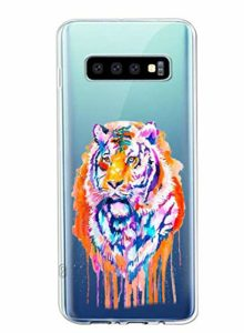 Oihxse Cristal Clear Coque pour Samsung Galaxy S10 5G Silicone TPU Souple Protection Etui [Jolie Aquarelle Animal Design] Anti-Choc Anti-Scratch Bumper Housse Ultra Fin Case (B4)