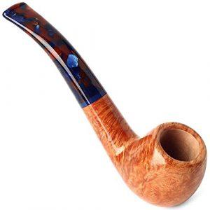 Pipe à fumée de Tabac Classique Délicat Pipe Tabac Courbé avec Nan Mu Porte-Cigarette en Bois Massif en Cadeau Fumer 6 Mm Filtre for Les Aînés Cadeau Homme délicat (Color : Yellow, Size : 14x4x5cm)