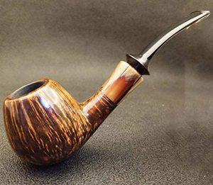 Pipe de Tabac courbée Classique Brillante, Bois Fait à la Main, Pipe à Fumer pour Homme