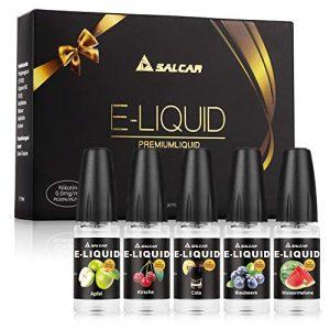 Salcar® 5 x 10ml e liquide pour cigarette electronique/E-Cigarette, VG70%/PG30%. (Pomme, Cerise, Myrtille, Pastèque, Cola)
