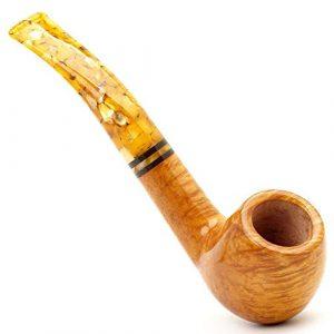 Yhjklm Cigarette Pipe de Tabac Miel Revêtement Nan Mu en Bois Massif Tabac à Pipe avec Support en nid d'abeille de la Cigarette Cadeau for Les aînés (Couleur : Jaune, Taille : 14x4x5cm)