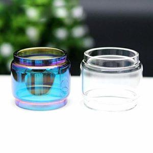 2pcs / lot 1 + 1 arc-en-clair ecig remplacement ampoule en verre verre clair Tube for tfv8 TFV12 prince grand bébé RBA x-bébé vape stylo 22 ,Sans tabac ni nicotine ( Couleur : For TFV8 big baby RBA )
