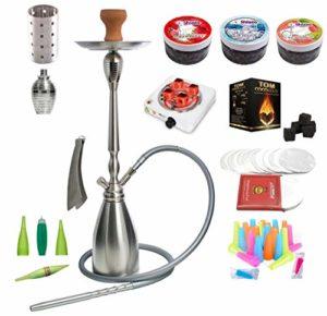 alPapcio Shisha Ghost Silver 1 Tuyau, Nombreux Accessoires, Une Pipe à Eau à Acier Inoxydable élégante et Luxueuse, SHIAZO, Mega Ensemble narguilé Hookah