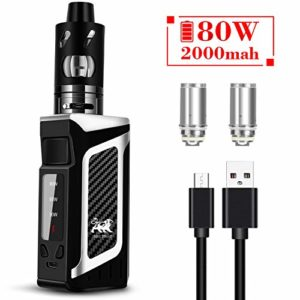 Cigarette Electronique, Aiemok Electronic Cigarettes Starter Kit 2000mAh Rechargeable Mod Box 80W Cloud Vapor Tank Vape Kit sans Liquide,sans Nicotine