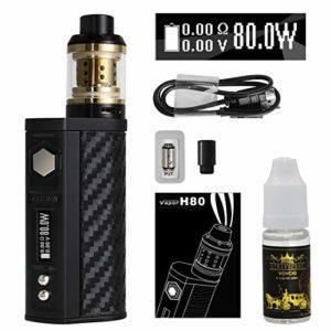 Cigarette Electronique Kit Complet,VOVCIG®80W 3 modes d'alimentation,1600mAh,Top huilage,0.3 ohm/2.0ml,2*bobine de remplacement,1*e liquide,1*Porte-cigarette anti-brûlure,4*autocollant,pas de nicotine