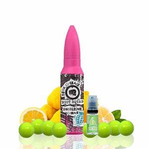 E Liquide Riot Squad Punk Grenade Bubblegum Grenade 50ml – 70vg 30pg + Liquide The Boat 10ml Citron et citron vert – Pack 2 unités – Les deux liquides contiennent 0,0 mg de nicotine.