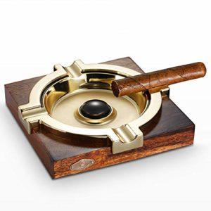 LKJJTG cendrier à Cigare de, Merbau, métal Grand, avec 4 Fentes pour Porte-Cigarette pour la Maison et Le Jardin, qualité de Vie-Gold