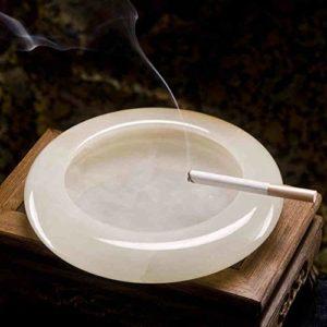 LKJJTG cendrier à cigares de, Jade Blanc Naturel, Poli à la Main, Salon, Grande Taille, Bureau, Collection de souvenirs-13.8CM