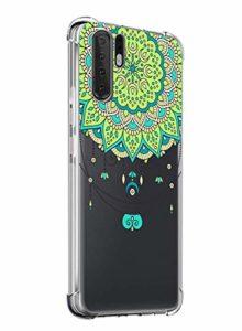 Suhctup Coque Comaptible avec Huawei P20 Lite 2019 Étui Houssee,Transparent Motif Fleur [Antichoc Protection des Coins] Crystal Souple Silicone TPU Bumper Case Cover pour Huawei Nova 5i,A2