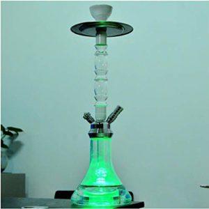 X-xyA Narguilé Set, 21″ Portable Narguilés Set Complet avec 1 Hookah Tuyau, LED, Lumières Magiques Bowl en Céramique Et Système De Gestion Thermique