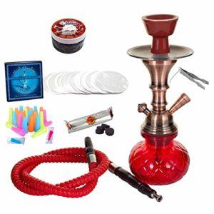 alPapcio Shisha Classic avec 1 Tuyau et de Nombreux Accessoires, pichet en Verre Rouge, Chicha, charbons, SHIAZO, Taille Pratique, Ensemble narguilé Hookah