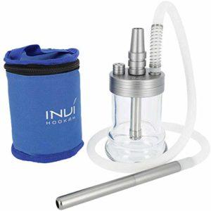 INVI® NANO Aluminium   Narguilé de voyage avec housse étui   Set Tuyau chicha compris (Anthracite métalisé)