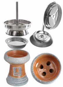 Kaya-Shisha Kit de tête de tabac naturel pour chicha et chicha – Accessoire pour cheminée – Bouilloire en pierre satinée et émaillée naturel