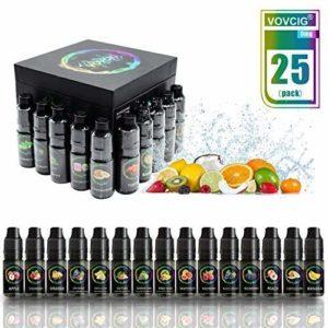 VOVCIG E-liquide Cigarette Electronique E Liquide 25 X 10ml pour Cigarette Electronique sans Nicotine ni Tabac avec 70% VG 30% PG SAVEURS