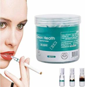 CUTEPET Filtre à Cigarettes Jetable,Anti Nicotine, Anti Goudron filtres Cigarettes (Vert, 100PCS)