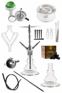 KAYA-Shisha INOX Sebulba Bipod, Set de narguilé, Acier Inoxydable, récuperateur de mélasse en Verre, kit de tuyaux et Foyer en Silicone, Charbon à Shisha, Pince à Charbon