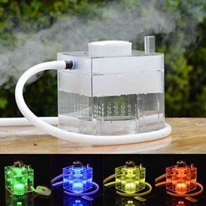 Narguilé Set, Shisha Cube Acrylique Micro Moderne avec Système de Gestion de la Chaleur Plaisir de Fumer(Bol à narguilé/Tuyau à narguilé/Pinces/Lumière magique à DEL)