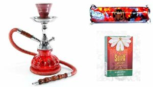 Petit Narguilé Chicha Rouge Shisha Pipe à Eau avec 1 rouleau de Charbon Soex et 1 Boîte de Soex Double Pomme 50 gr Shisha aux herbes – sans tabac sans nicotine
