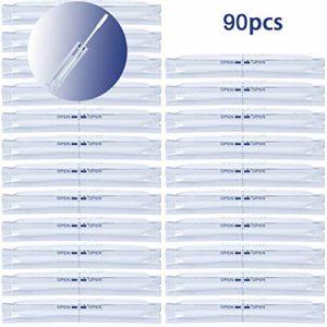 ZITFRI 90 Pièces Tampons Coton Tiges avec Alcool à Deux Têtes pour Nettoyage IQOS pour Absorber l'huile de Fumée