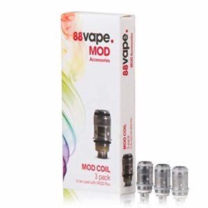 88Vape Remplacement MOD cigarette électronique Bobines 0.5ohM, Pack de 3 50W MOD Bobines E-Cigarette (pas de nicotine/nicotine libre)