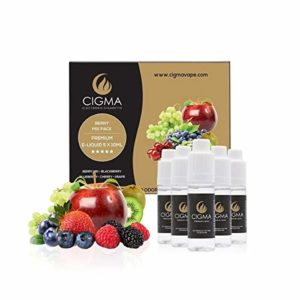 CIGMA 5 X 10 ml E Pack liquide | Mélange de baies | Myrtille | Blackberry | Cerise | Raisin | Nouvelle formule de qualité supérieure | Convient pour la cigarette électronique et E Chicha |