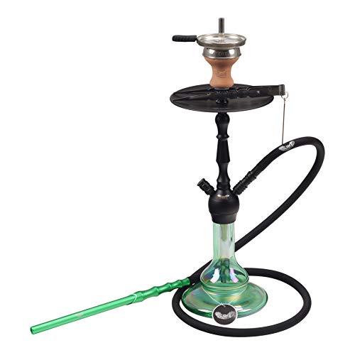 CRT | Shisha ECO Mini | Narguilé avec fermeture à clic | 47 cm | avec tuyau en silicone, embout buccal, tête de cheminée + embout de cheminée + pinces à charbon | + RdO autocollant (Noir – Shiny Vert)