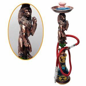 OPNIGHDYMD Houka Shisha, Arabe Narguilé, Alliage Lion Narguilé, Pot d'or Peint Artificiellement, Pipe Tabac Pipe de Verre 76cm