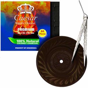 Caesar Set chicha 1 kg 2,6 cm 64 charbon + assiette à charbon Hookah | assiette à cendres pour narguilé (34 cm, marron (avec pince)