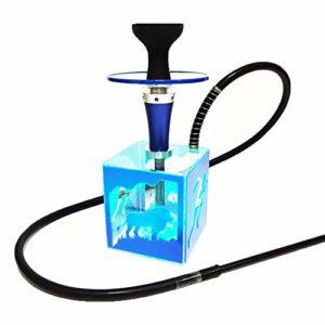 Narguilé Set Shisha Pipe Avec 1 Tuyaux, Grande Saveur LED Lampe Arabe Smoker Tuyau D'eau, Ensemble Complet D'accessoires Pour Hookah Singletube (Pas De Nicotine),Bleu