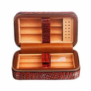 Cigar Humidor Case Voyage Cigar Humidor Cedar Bois Doublé Etui En Cuir Véritable Avec Humidificateur Portable Cigar Box Gift Set Détient 6 Cigares,