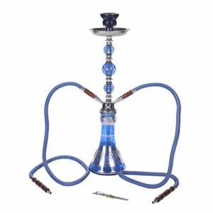 CUIJU Shisha Hookah 2 Tuyaux Tuyau d'eau Narguilé Shisha Set 49cm De Haut avec Accessoires Pinces Rouleau Embouchures De Charbon, Bleu