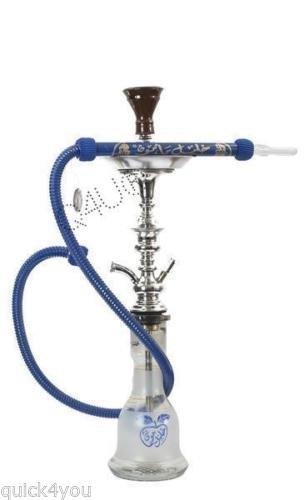 KM Khalil Mamoon Shisha Hookah Genuine Egyptian sheesha pipe Cafe Style With 175CM Hose Washable (Blue)