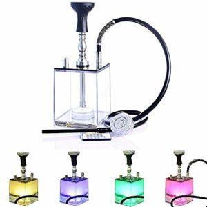Set de narguilé,Narguilé Cube Micro Moderne en Acrylique avec Système de Gestion de la Chaleur,Bol en Narguilé en Silicone/Tuyau Narguilé/Pince/Lumière Magique à LED,Meilleure Fumer Narguilé Shisha