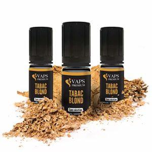 Vaps'Premium – E-liquide Tabac Blond – 3 x flacons de 10 ml – 00 mg – Fabrication française – Recharge Liquide Cigarette électronique – Sans nicotine ni tabac