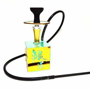 X-xyA Prime Shisha Narguilé Set – 15,7″ Moderne Et Acrylique + Alliage De Zinc Cube Shisha Kit Complet avec Silicone Bowl, Porte-Charbon, Tuyau Et Magique LED,Jaune