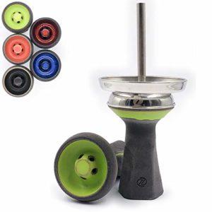 Zanabaq Penta – Véritable chicha à tête en pierre – Fabriqué à la main en Allemagne – Tête de chicha avec technologie Vortex en kit avec cheminée et joint (vert toxique)