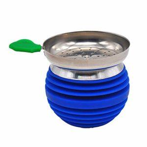 HKYMBM Narguilé Bowl Set avec Porte-Charbon en Silicone en Acier Inoxydable Facile Remplacer Nettoyage Rapide Charbon,Bleu