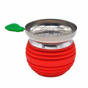 HKYMBM Narguilé Bowl Set avec Porte-Charbon en Silicone en Acier Inoxydable Facile Remplacer Nettoyage Rapide Charbon,Rouge