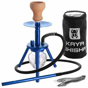 Kaya ELOX Eco Bonfire Narguilé à trois pieds avec pince à charbon et sac de voyage Bleu 33 cm