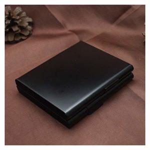 LOMAX Stockage Boîte à cigares, 1pcs étui à Cigarettes en métal Accessoires for Fumer Hommes Tabac Cadeau Holder Pocket Box 9.2 * 8.2 * 2cm cigares de Stockage de conteneurs Commodité (Color : Black)