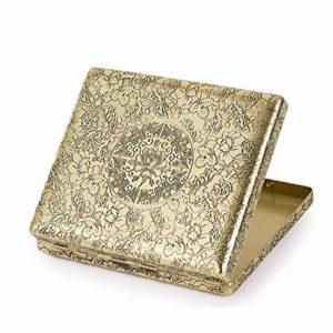LOMAX Stockage Boîte à cigares, Cadeau de Cigarette Vintage Peony cuivre Box Hommes 20 Boîte Cigarette Cigarette Hommes d'affaires Boîte Gadget Commodité (Color : B, Size : 9.5×8.2×1.8cm)